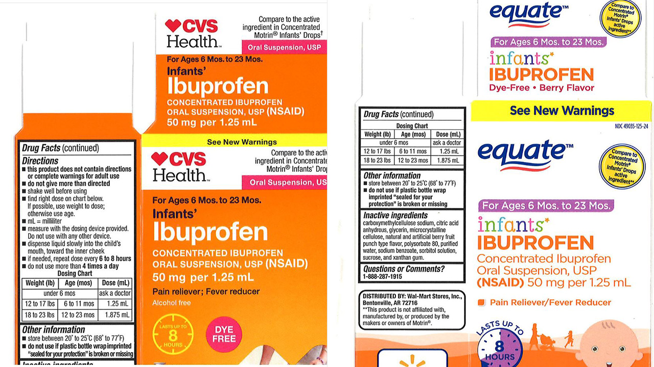 Tris Pharma expands recall of infant ibuprofen sold in Walmart, CVS