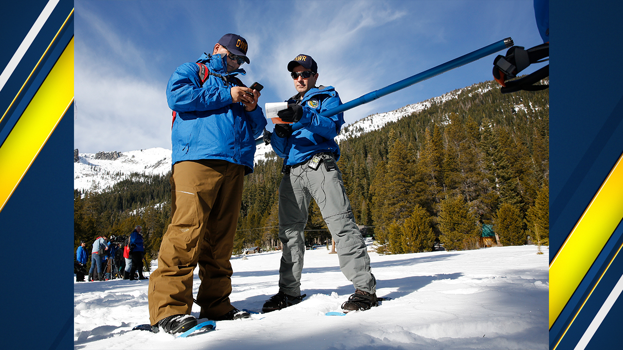 Department of Water Resources Water Resource engineers go over the snowpack number during the first snow survey of the season at Phillips Station, Thursday, Jan. 3, 2019.