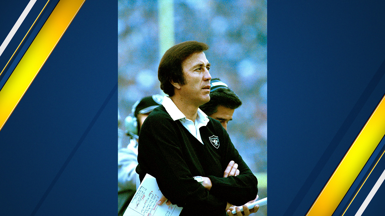 Tom Flores, head coach of the Los Angeles Raiders, is shown during a game in 1983. Exact date and location are unknown.