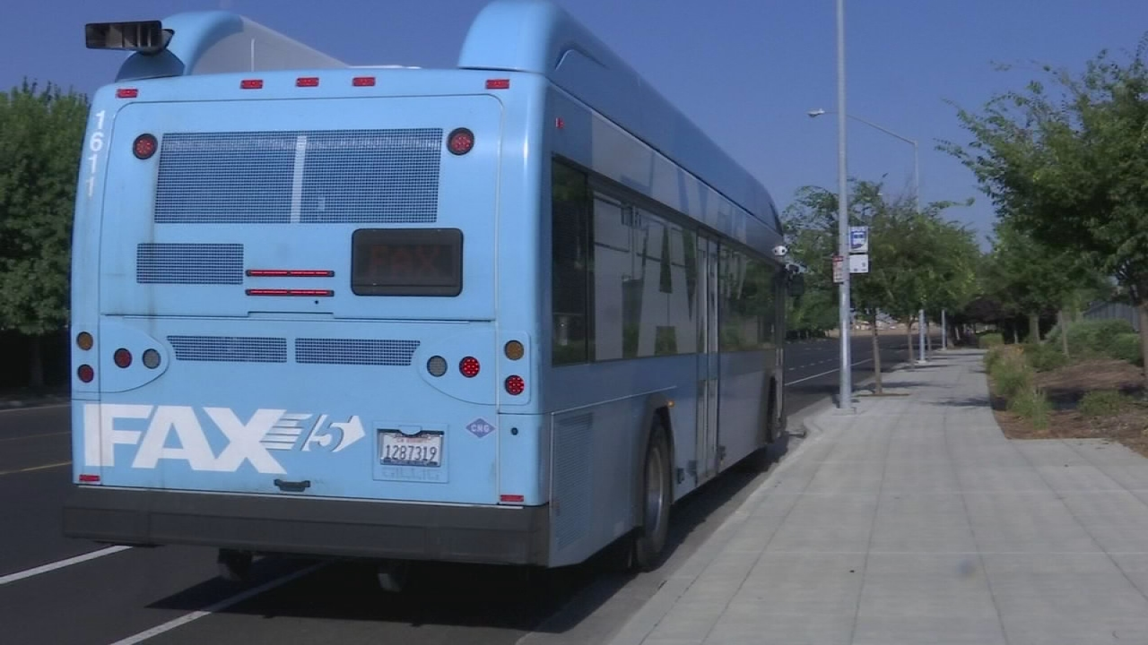 FILE - A FAX bus is stopped at Inspiration Park in Northwest Fresno during trial service in July 2018.
