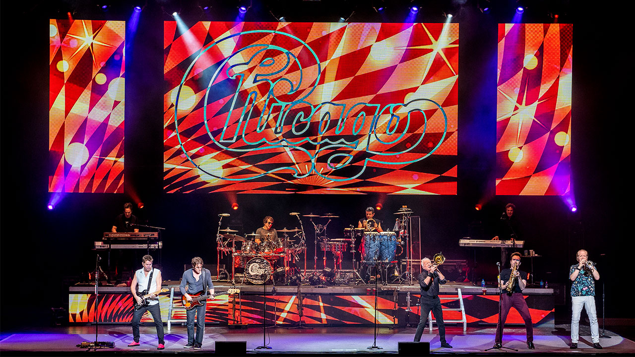 FILE -- The American iconic rock band Chicago performs at the Xfinity Center, Sunday, Aug. 5, 2018, in Mansfield, Mass.