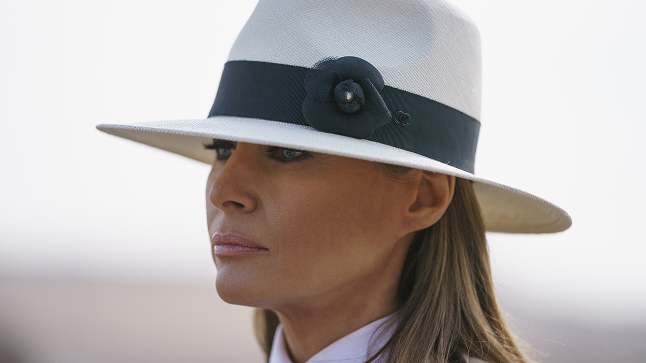 First lady Melania Trump pauses as she speaks to media during a visit to the historical Giza Pyramids site near Cairo, Egypt on Saturday, Oct. 6, 2018.