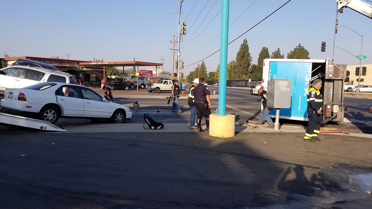 Panel truck crashes into two cars in Southeast Fresno