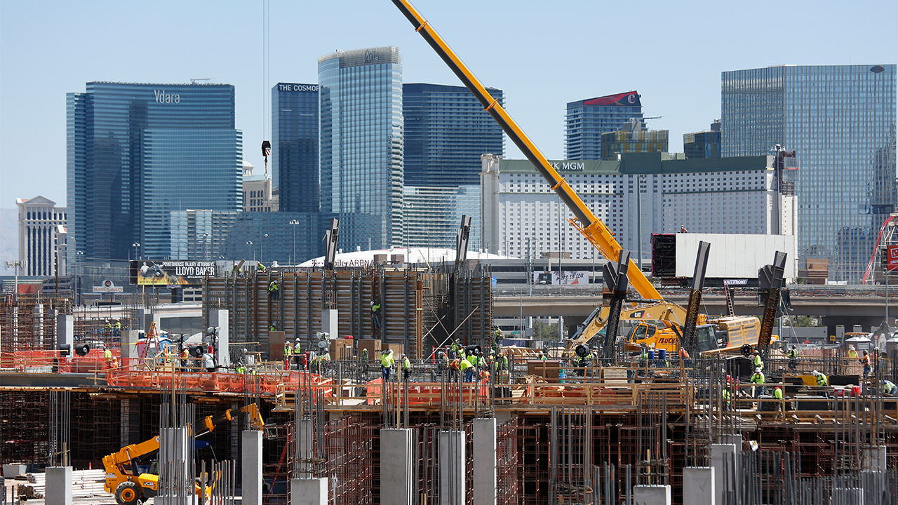 Workers continue construction on the future Raiders football stadium, Monday, June 11, 2018, in Las Vegas.