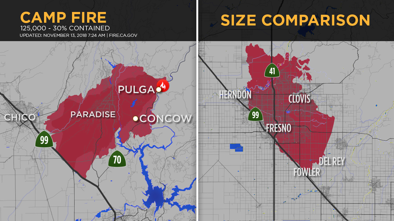 The Camp Fire has burned 125,000 acres and is 30% contained at this time. To put things into perspective, heres what that same acreage would look like over the city of Fresno.