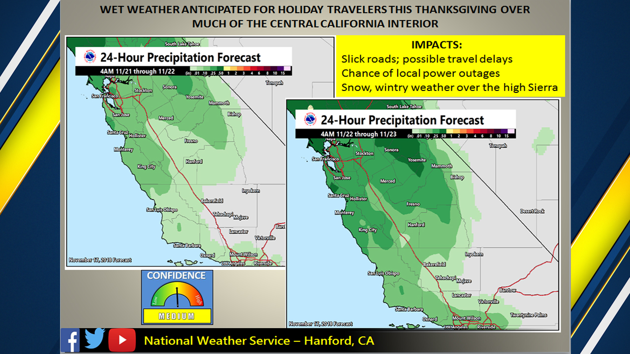 NWS: Expect a rainy Thanksgiving weekend, two storm systems heading to California