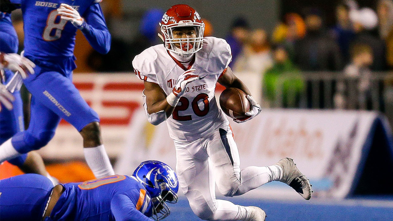 Fresno State running back Ronnie Rivers (20) runs with ball against Boise State in the second half of an NCAA college football game, Friday, Nov. 9, 2018, in Boise, Idaho.