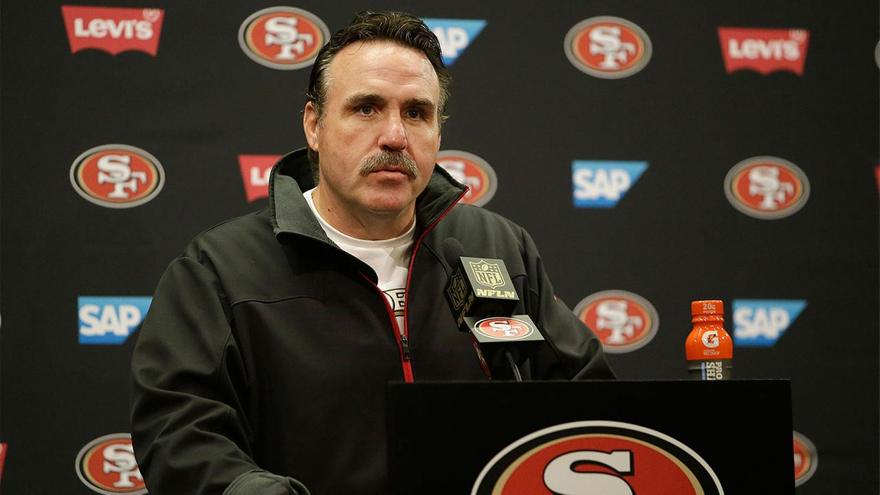 San Francisco 49ers head coach Jim Tomsula speaks at a news conference after an NFL football game against the St. Louis Rams in Santa Clara, Calif.