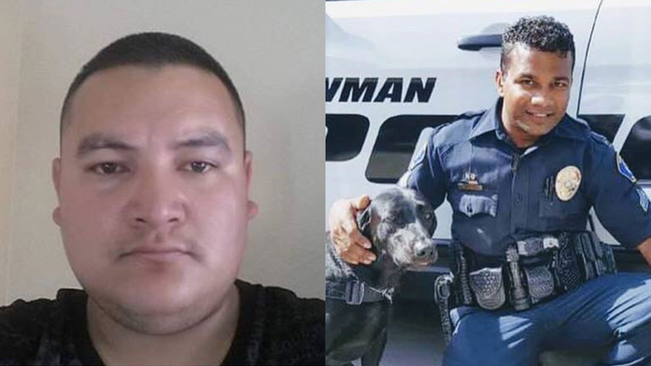 Gustavo Perez Arriaga (left) has been arrested and is accused of killing Cpl. Ronil Ron Singh (right) on Wednesday in the small Stanislaus County town of Newman, Calif.