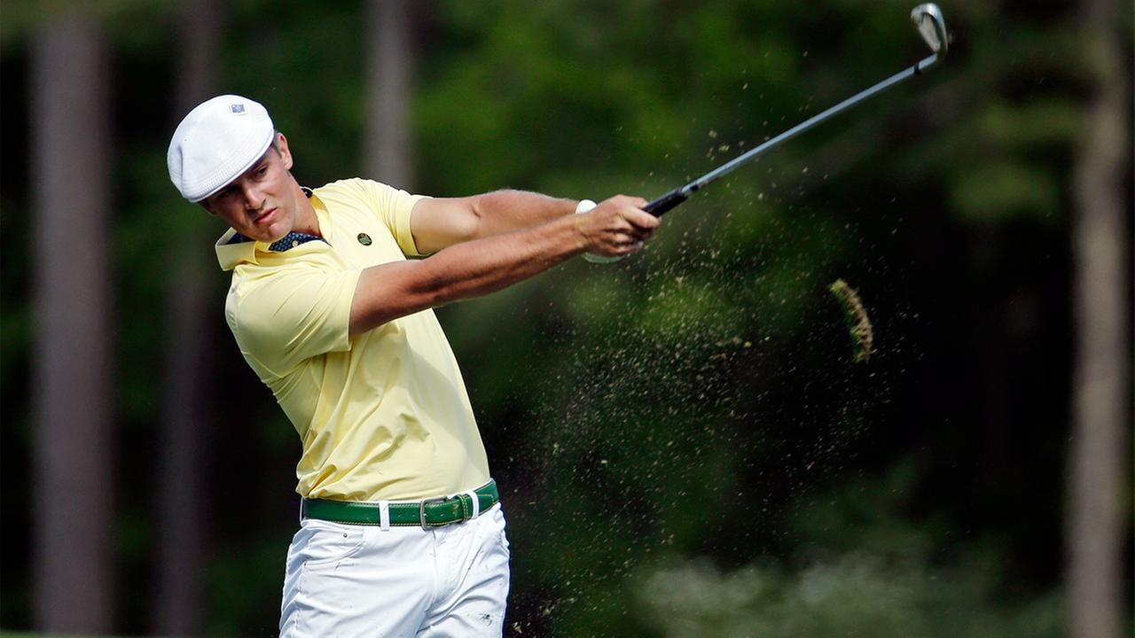 Amateur Bryson DeChambeau tees off on the 12th hole during the second round of the Masters golf tournament Friday, April 8, 2016, in Augusta, Ga.