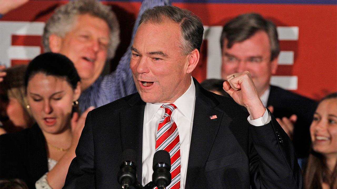 Democratic senate candidate former Gov. Timothy Kaine, celebrates his win over Republican George Allen during his victory party in Richmond, Va., Wednesday, Nov. 7, 2012.