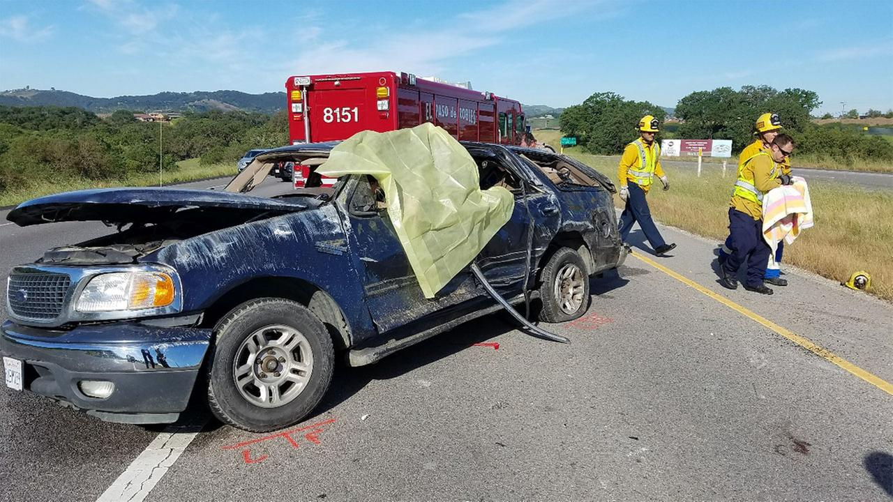 Investigators said a Ford Expedition appeared to run a red light near Paso Robles and rolled across the highway after being clipped by another car.
