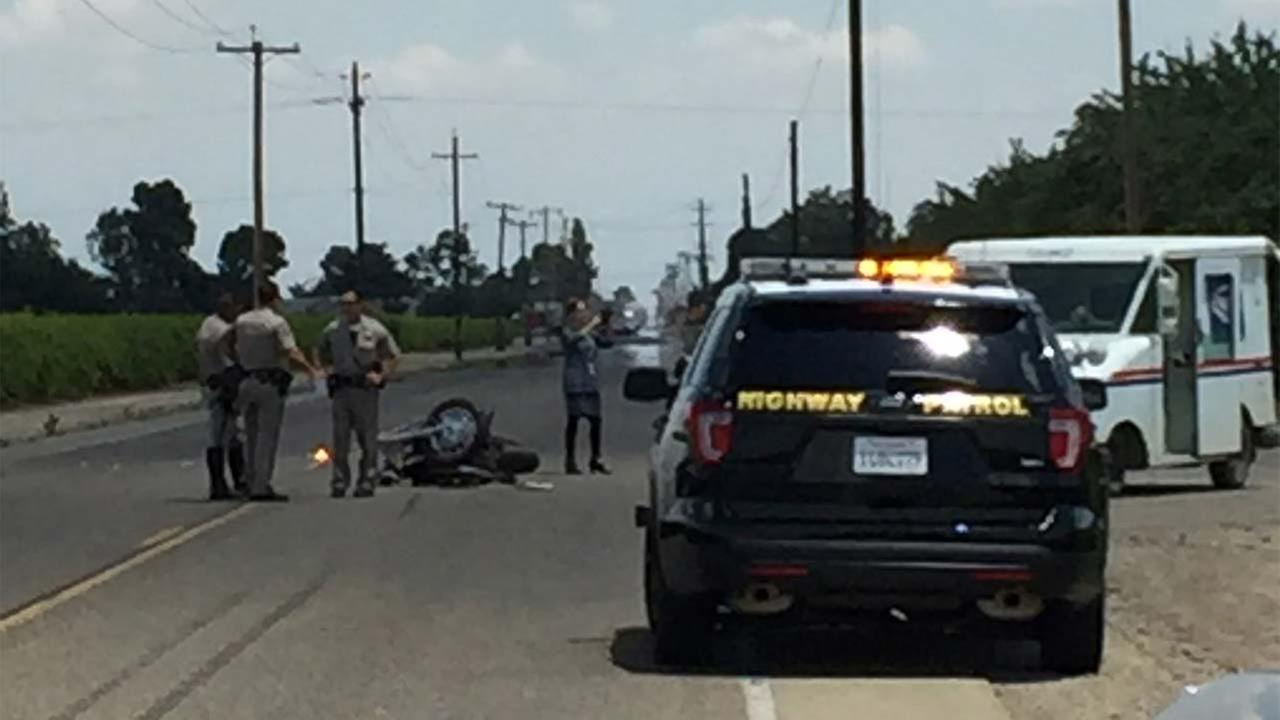 The CHP says the mail truck pulled in front of the motorcyclist, killing the biker.