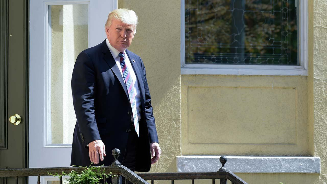 President Donald Trump leaves after attending services at St. Johns Church in Washington, Sunday, Sept. 3, 2017.