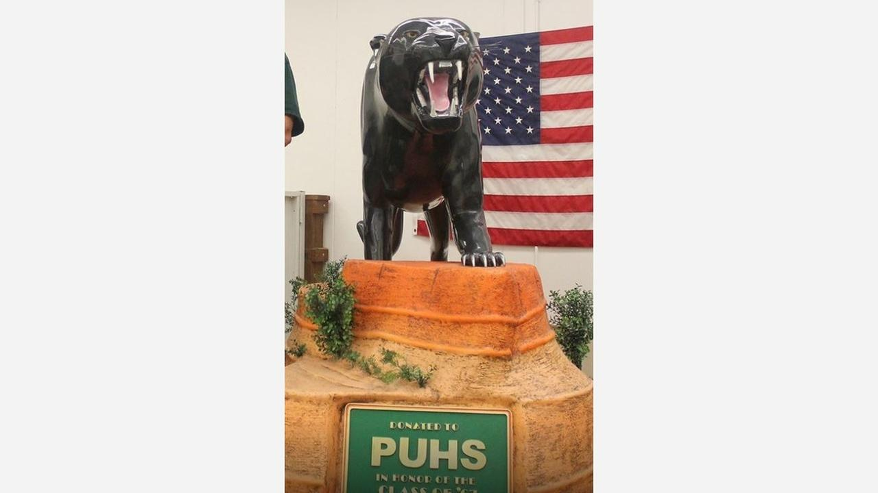 Hand-carved wooden panther donated to Porterville High School