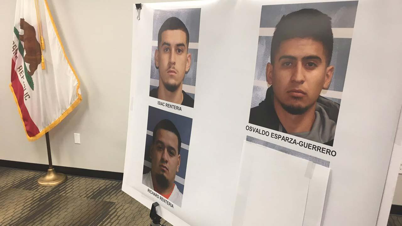 Officials said they arrested Isiac Renteria, 19, Richard Renteria, 21, Osvaldo Esparza-Guerrero, 20, and Breane Ojeda, 21-- all are from Visalia.
