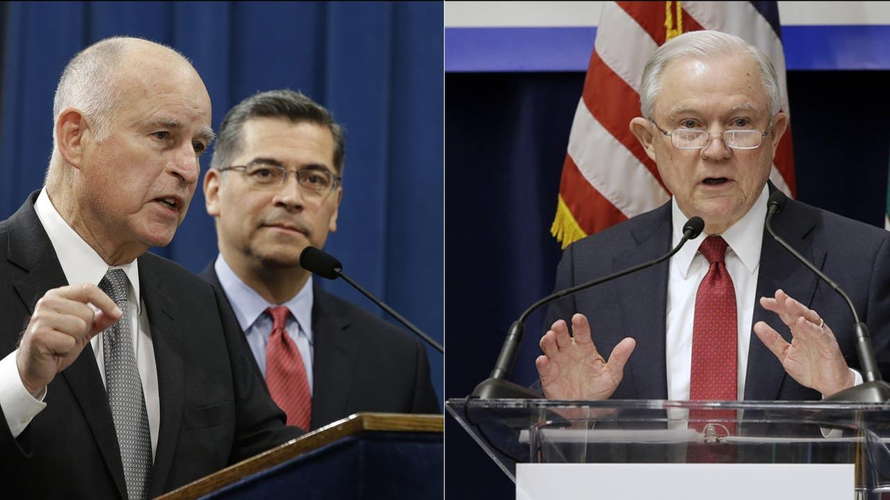 California Gov. Jerry Brown, left, U.S. Attorney General Jeff Sessions, right.