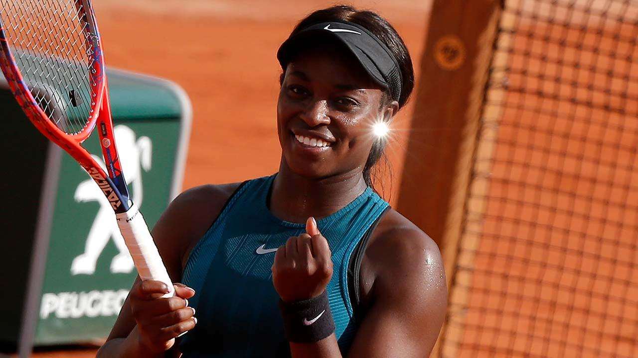 Sloane Stephens of the U.S. clenches her fist after defeating compatriot Madison Keys in the semifinal match of the French Open tennis tournament at the Roland Garros stadium.
