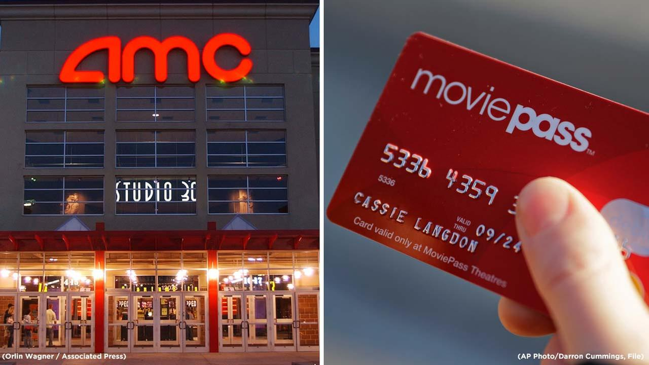 The worlds largest movie chain, AMC theaters, is trying to compete with MoviePass by offering a three movie a week pass for $19.95 plus tax. (AP Photos)