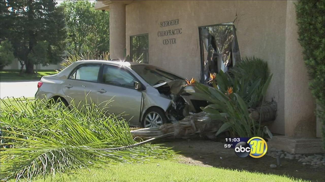 Car crash knocks doctors office off its foundation