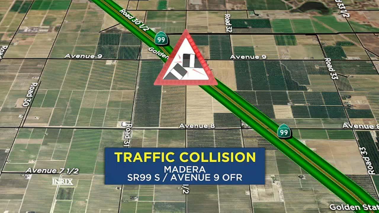 Crash involving big rig shuts down lane on Highway 99 near Madera
