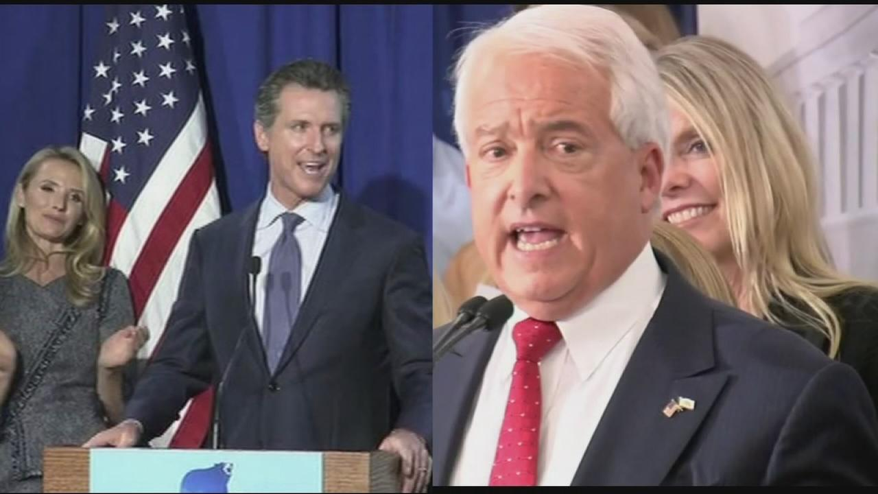 FILE - California gubernatorial candidates Democrat Gavin Newsom and Republican John Cox