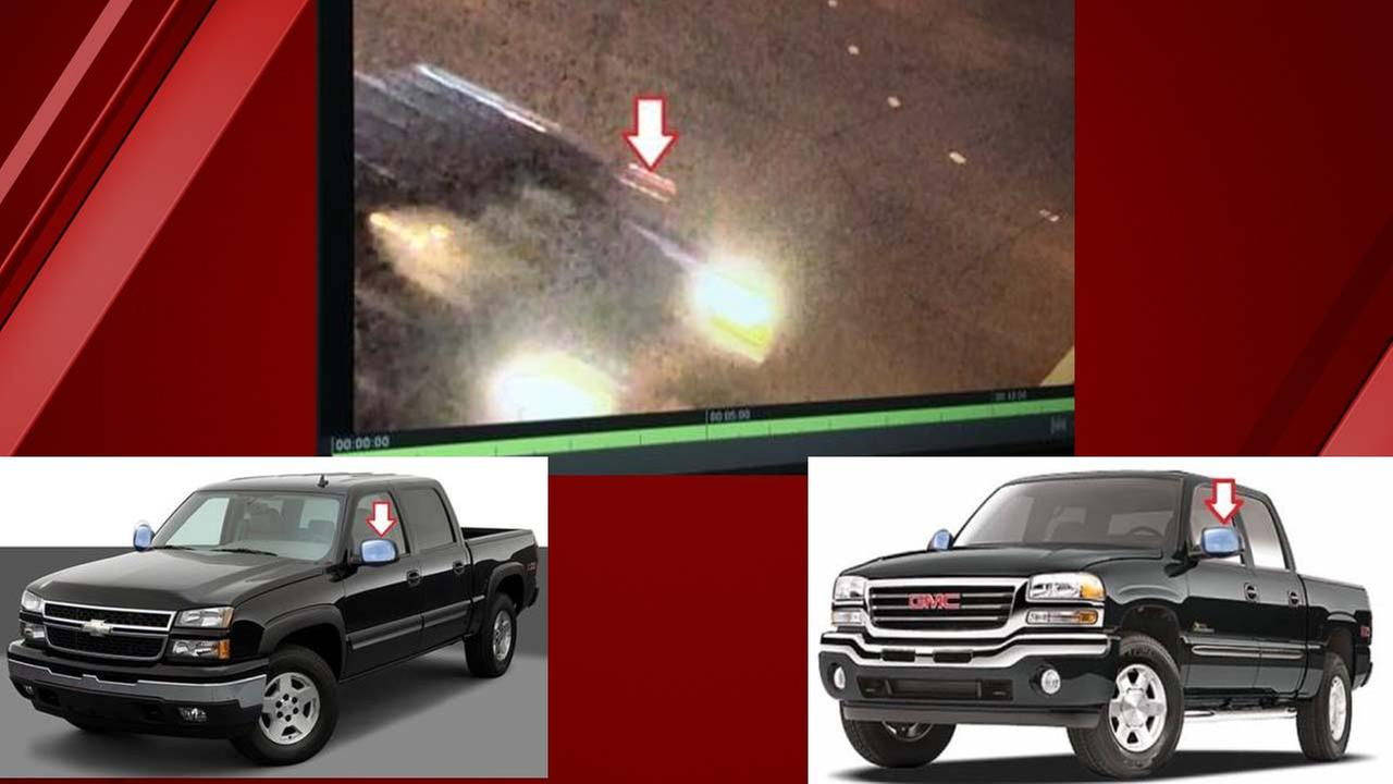 The CHP is looking for a pickup with a Crew Cab (4-Door) and chrome caps on the side mirrors (shown with arrows). The vehicle is dark in color, possibly black.