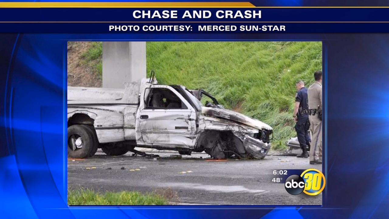 Fiery Merced County crash sends driver to hospital