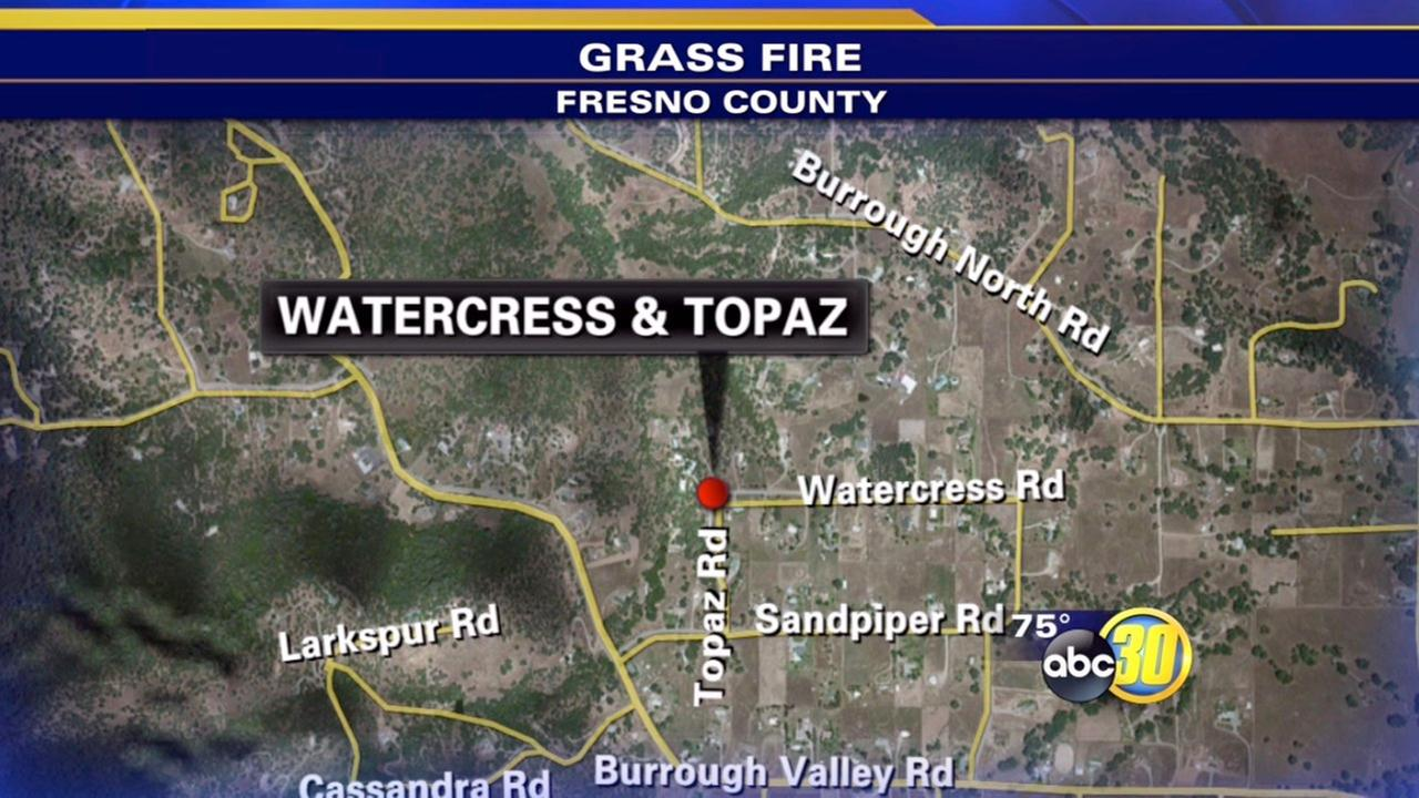 Tollhouse-area grass fire contained to 4 acres