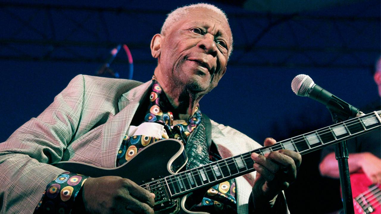 In this file photo taken Aug. 22, 2012, B.B. King performs at the 32nd annual B.B. King Homecoming in Indianola, Miss.