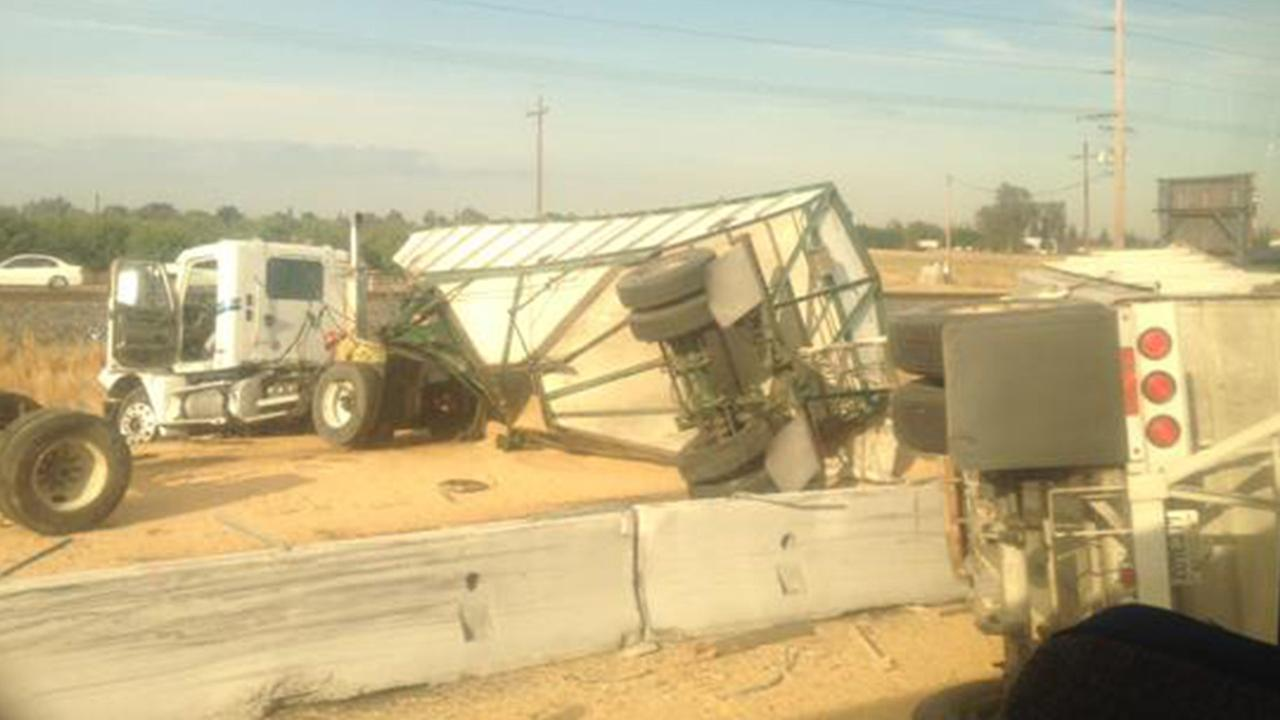 A big rig accident occurred on Highway 99 near Buhach Road in Merced County on Wednesday, May 20, 2015.