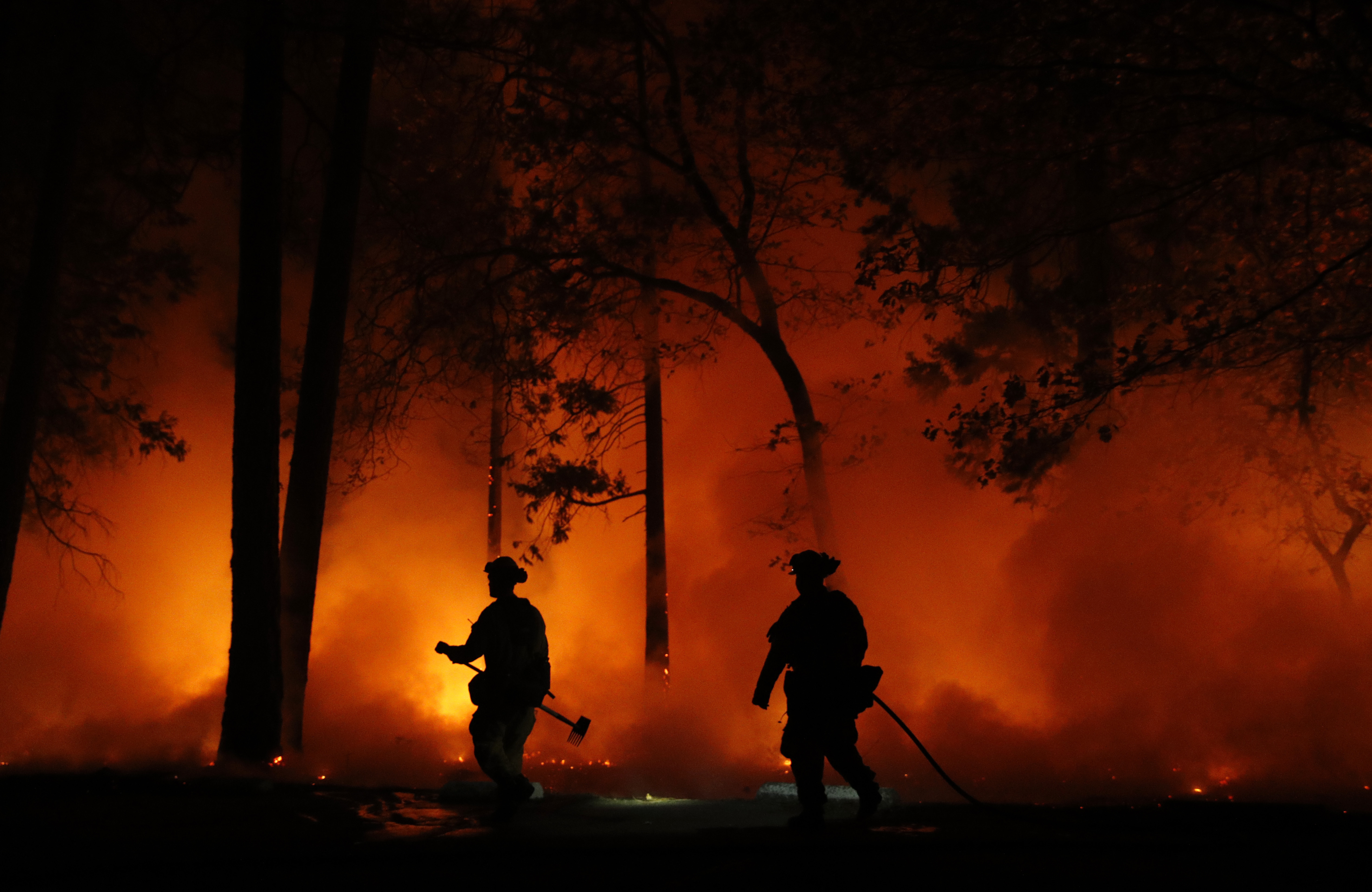 Firefighters work on a controlled burn at a wildfire, Friday, Nov. 9, 2018, in Magalia, Calif.