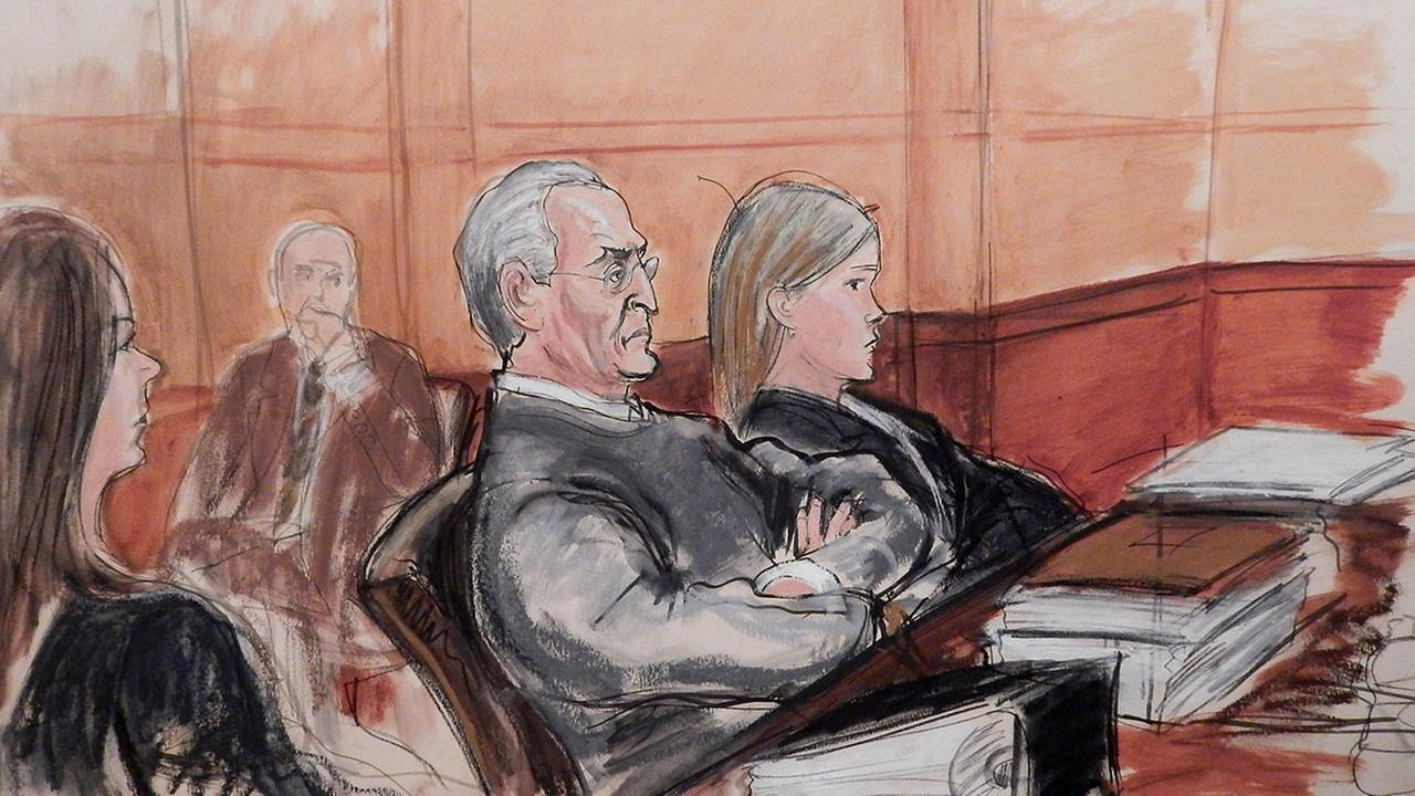 In this courtroom sketch, Vincent Asaro, 80, third from left, sits flanked by his defense attorneys during opening arguments, Monday, Oct. 19, 2015.