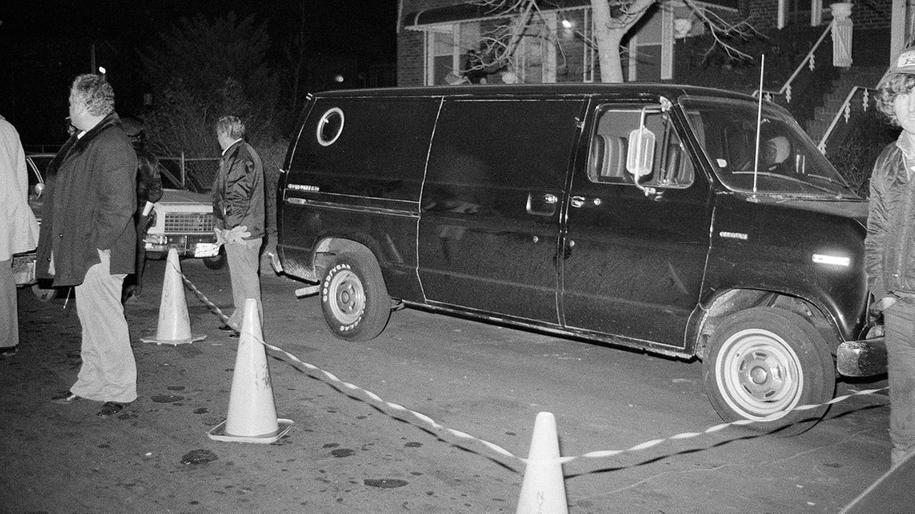 In this Dec. 13, 1978 file photo, police cordon off an area around a stolen black van discovered in the Brooklyn borough of New York.