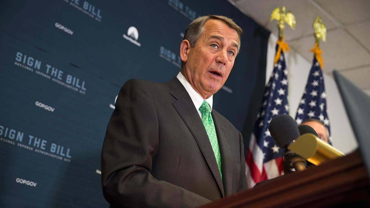 House Speaker John Boehner of Ohio speaks during a news conference on Capitol Hill in Washington.