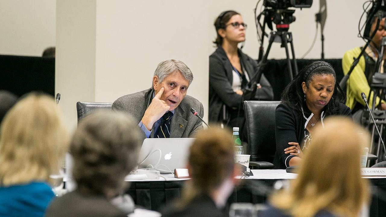In this Sept. 17, 2015, file photo, Alumni Regents Rod Davis, left, and Yolanda Gorman address the University of Californias Board of Regents meeting.