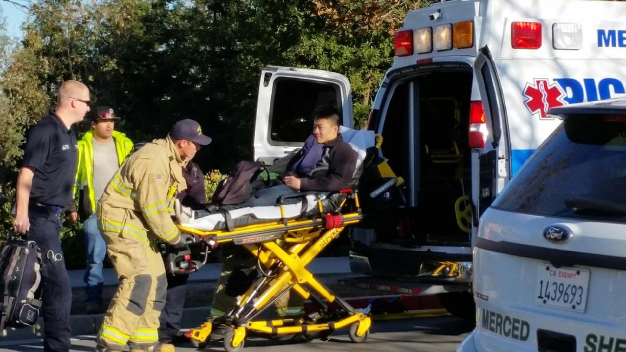Victim loaded into an ambulance