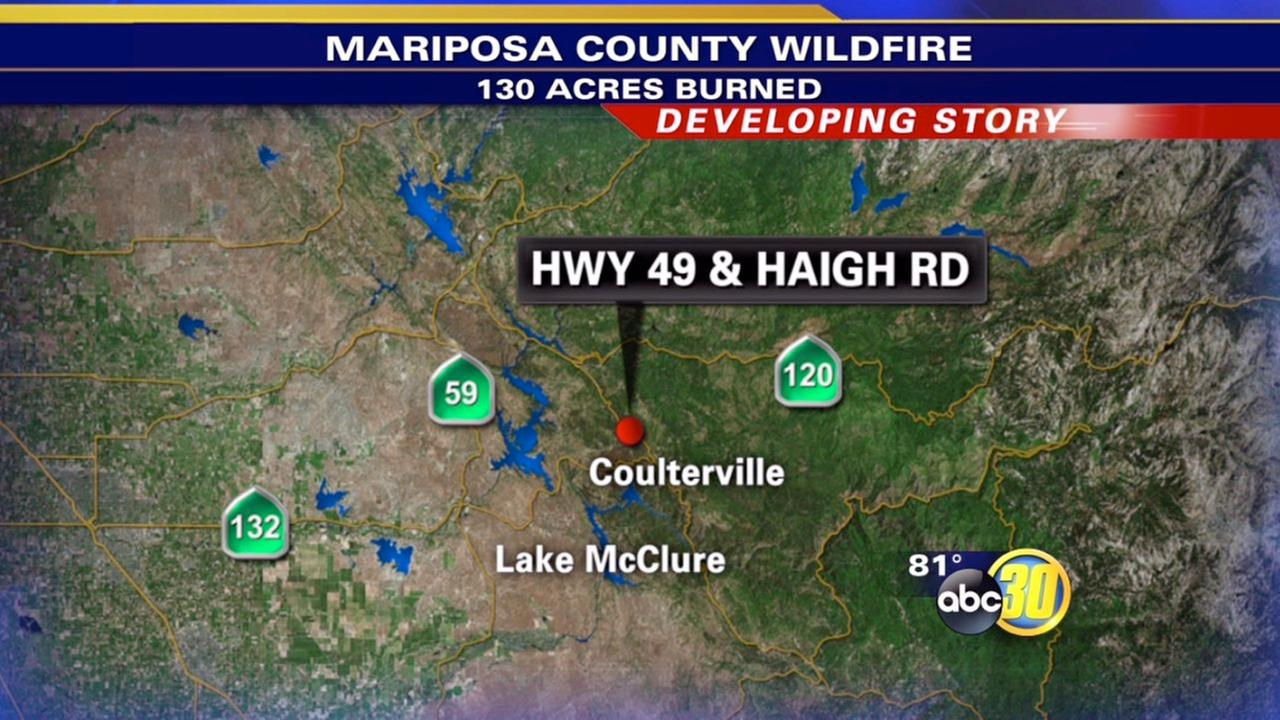 Wildfire chars 130 acres north of Coulterville
