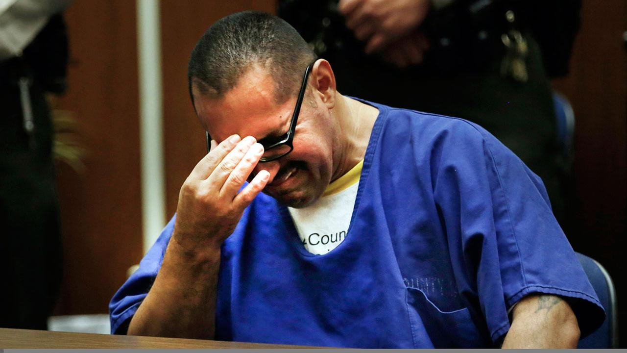 Luis Vargas, who has been in prison for 16 years, reacts in court as he is exonerated Monday, Nov. 23, 2015, in Los Angeles. (Francine Orr/Los Angeles Times via AP, Pool)