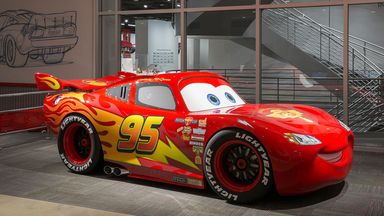 Photo provided by the Petersen Automotive Museum shows the Pixar Cars exhibit at the newly renovated Museum in Los Angeles. (David Zaitz/Petersen Automotive Museum via AP)