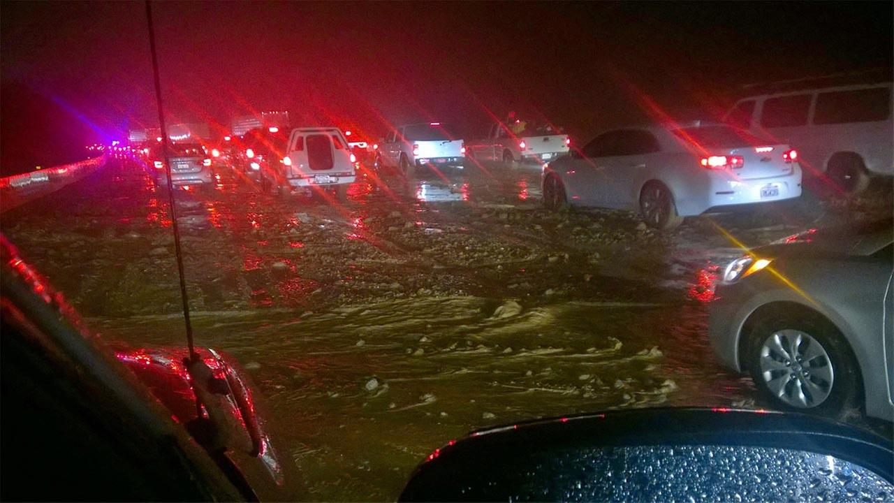Mudslide on Interstate 5 on the Grapevine