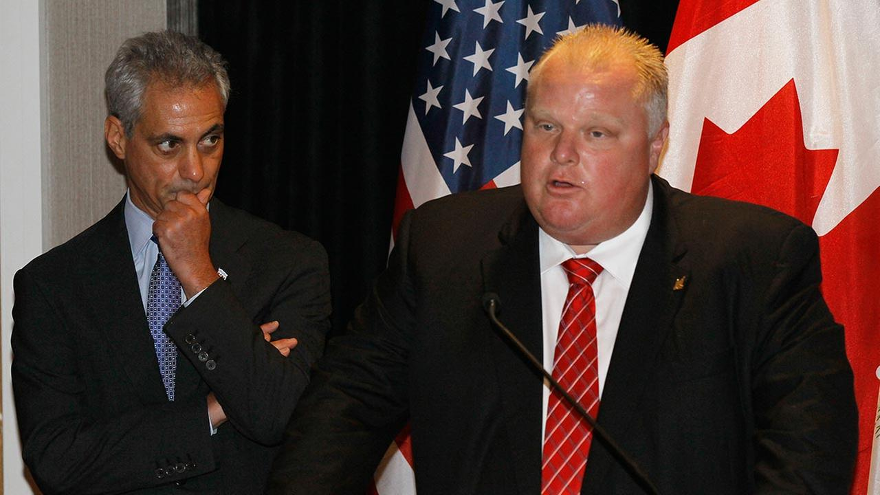 Toronto Mayor Rob Ford, right, makes a few remarks as Chicago Mayor Rahm Emanuel listens, before the pair signed a new sister cities agreement Wednesday, Sept. 19, 2012, in Chicago.