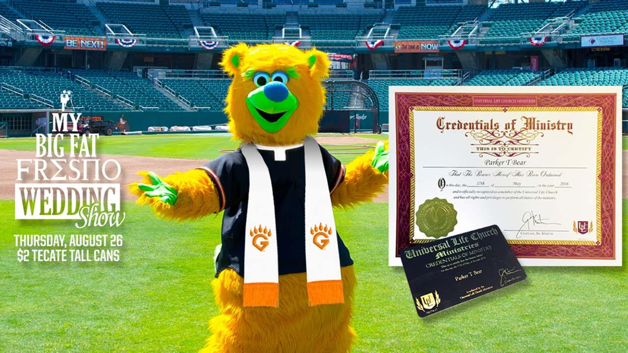 Mascot and ordained minister, Parker T. Bear
