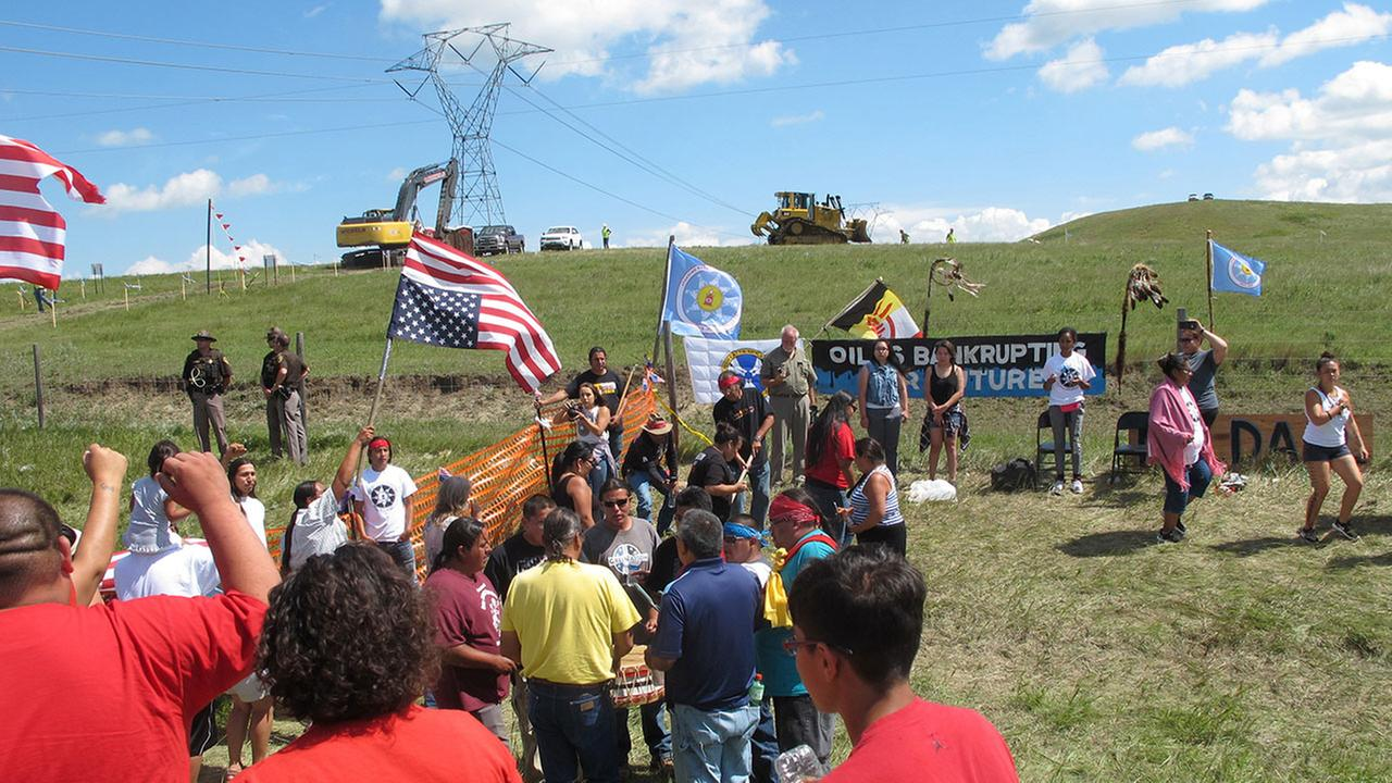 Native Americans protest the Dakota Access oil pipeline