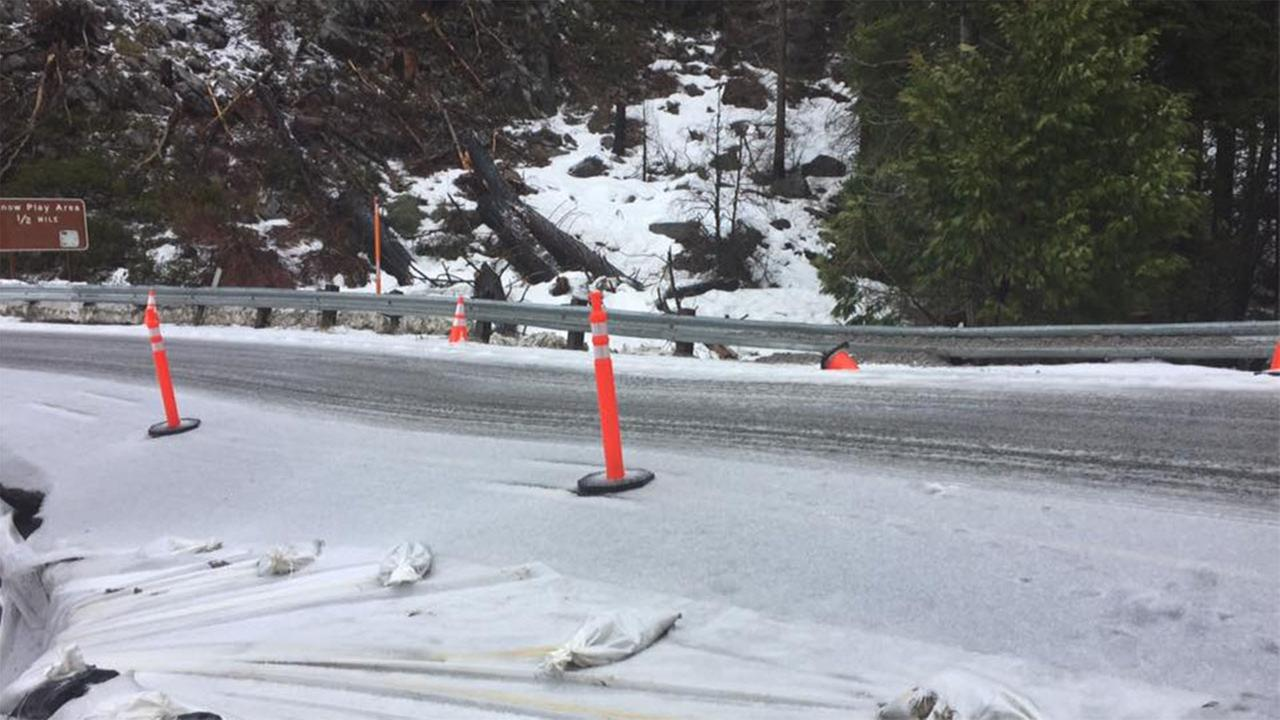 Highway 41 is closed 8 tenths of a mile south of the Yosemite National Park entrance due to dangerous road erosion.