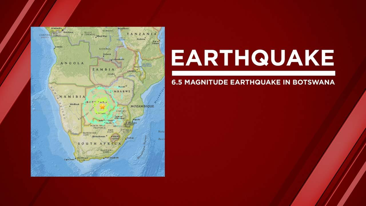 Earthquake in Botswana, Africa