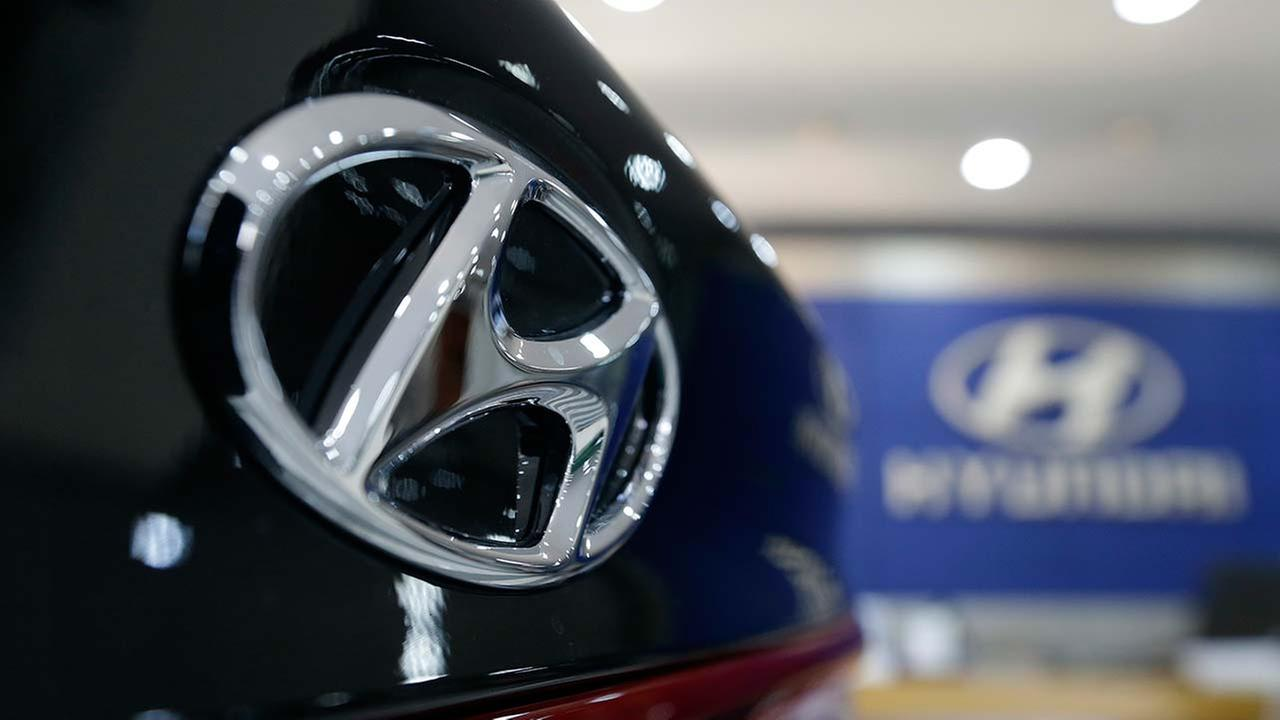 The logo of Hyundai Motor Co. is seen on a vehicle displayed at its showroom in Seoul, South Korea
