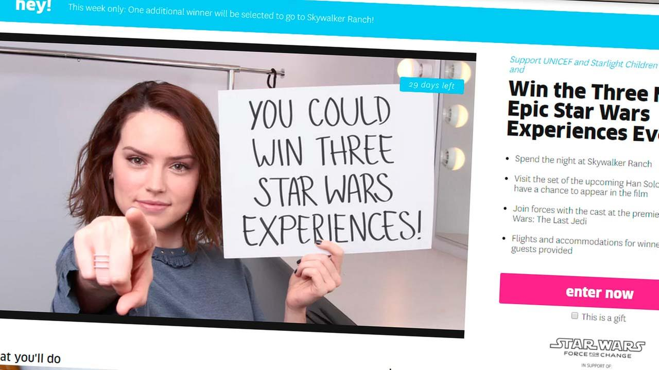 Fundraiser gives Star Wars fans a chance to win epic experiences