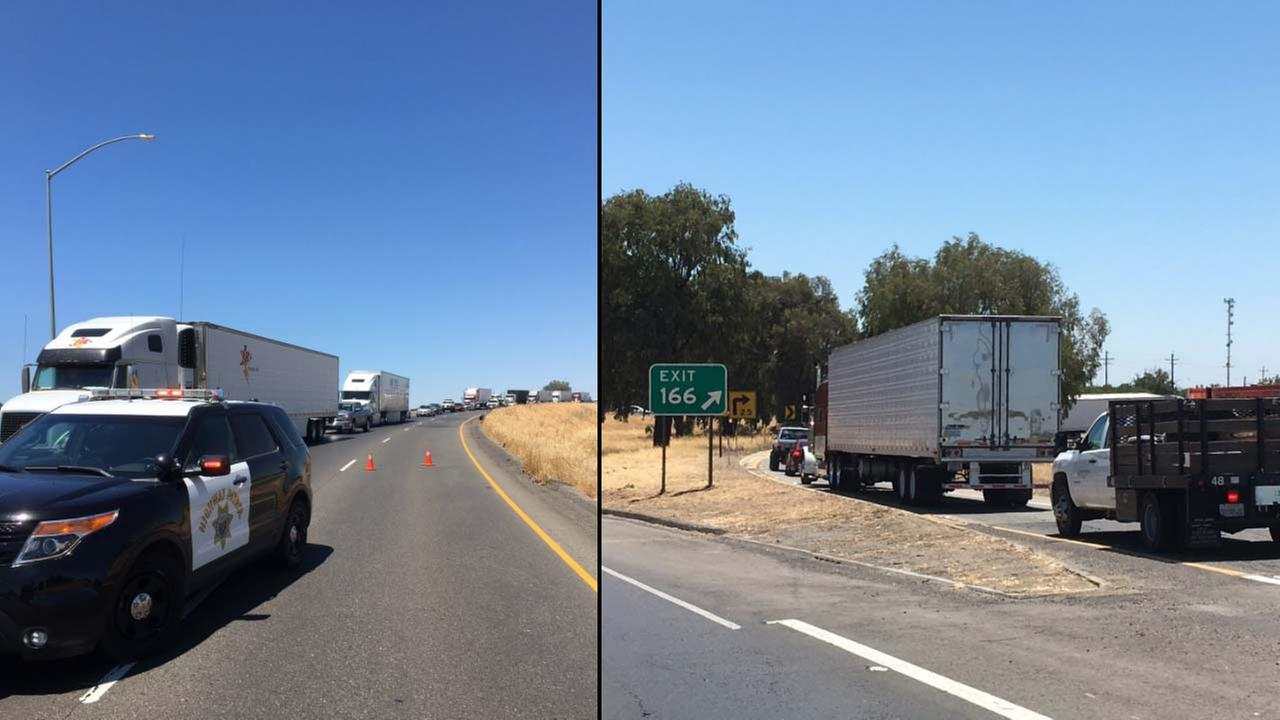 Southbound Highway 99 closed at Highway 152 due to overturned big rig