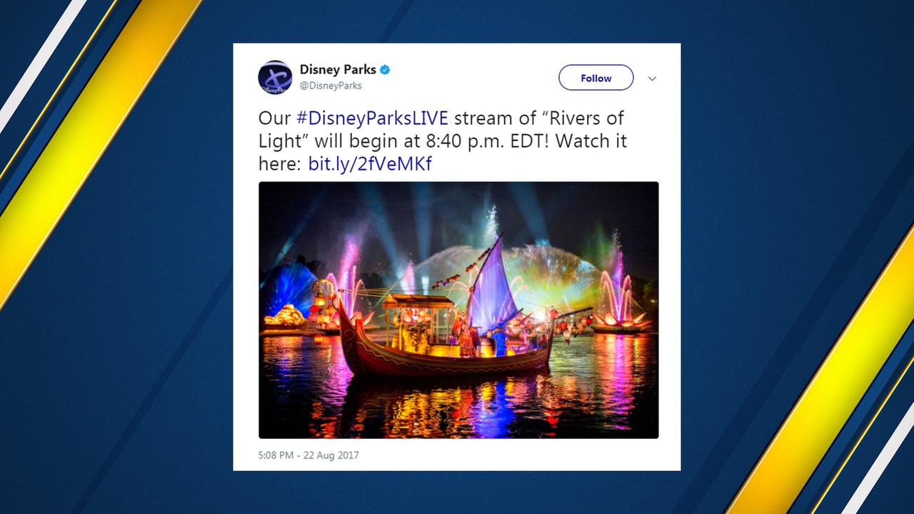 "Disney World streaming ""Rivers of Light"" live"